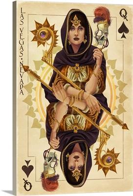 Las Vegas, Nevada - Queen of Spades: Retro Travel Poster