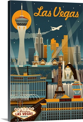 Las Vegas, Nevada - Retro Skyline: Retro Travel Poster