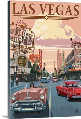 Las Vegas Old Strip Scene: Retro Travel Poster