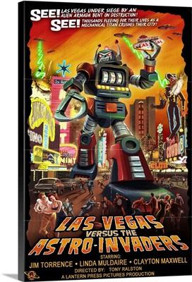 Las Vegas versus the Astro-Invaders: Retro Travel Poster