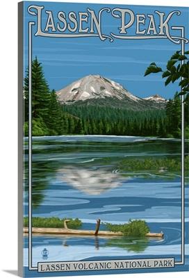 Lassen Peak and Manzanita Lake: Retro Travel Poster