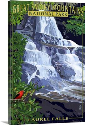 Laurel Falls - Great Smoky Mountains National Park, TN: Retro Travel Poster
