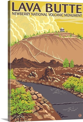 Lava Butte - Newberry National Volcanic Monument: Retro Travel Poster