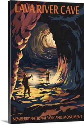 Lava River Cave - Lava Lands, Oregon: Retro Travel Poster