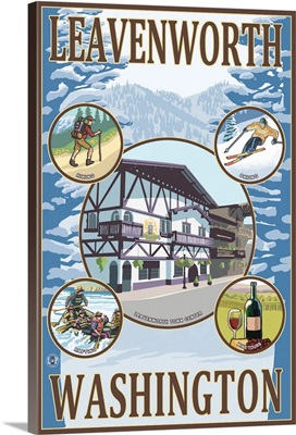 Leavenworth, Washington Views: Retro Travel Poster