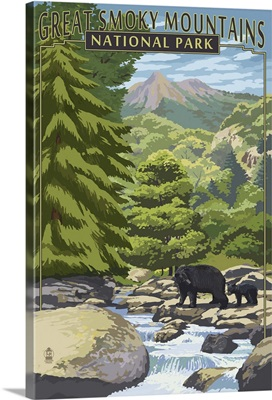 Leconte Creek and Bears - Great Smoky Mountains National Park, TN: Retro Travel Poster