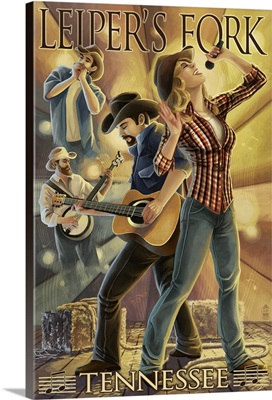 Leiper's Fork, Tennessee - Country Band: Retro Travel Poster