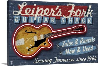 Leiper's Fork, Tennessee - Guitar Shack Vintage Sign: Retro Travel Poster