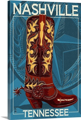 Letterpress Boot - Nashville, Tennessee: Retro Travel Poster