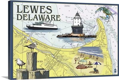 Lewes, Delaware - Nautical Chart: Retro Travel Poster