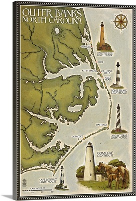Lighthouse and Town Map - Outer Banks, North Carolina: Retro Travel Poster