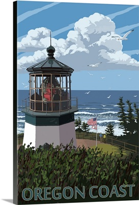 Lighthouse Scene - Oregon Coast: Retro Travel Poster