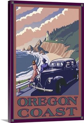 Lighthouse View - Oregon Coast: Retro Travel Poster