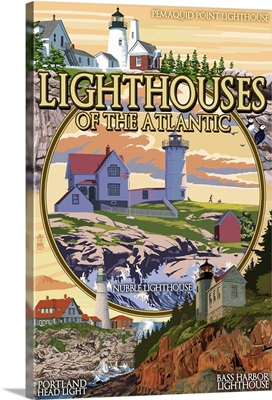 Lighthouses of Maine Montage: Retro Travel Poster