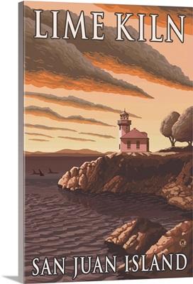 Lime Kiln Lighthouse - San Juan Island: Retro Travel Poster