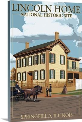 Lincoln Home National Historic Site - Springfield, Illinois: Retro Travel Poster