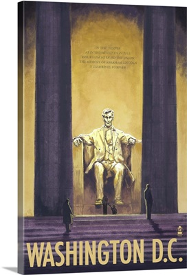 Lincoln Memorial - Washington DC: Retro Travel Poster