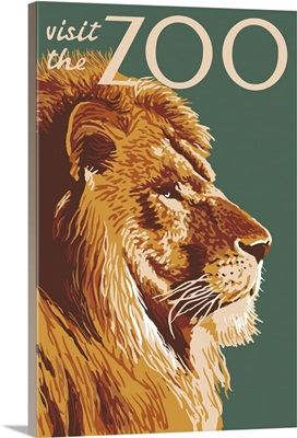 Lion Up Close - Visit the Zoo: Retro Travel Poster