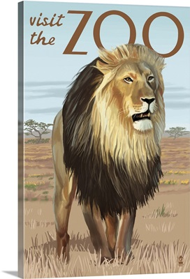 Lion - Visit the Zoo: Retro Travel Poster