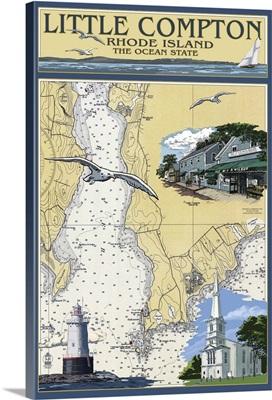 Little Compton, Rhode Island Chart: Retro Travel Poster