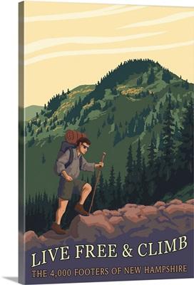 Live Free and Climb, New Hampshire - Hiker Scene: Retro Travel Poster