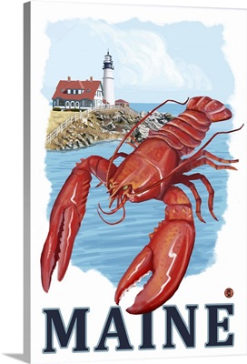 Lobster and Portland Lighthouse - Maine: Retro Travel Poster