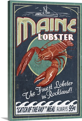 Lobster Vintage Sign - Rockland, Maine: Retro Travel Poster