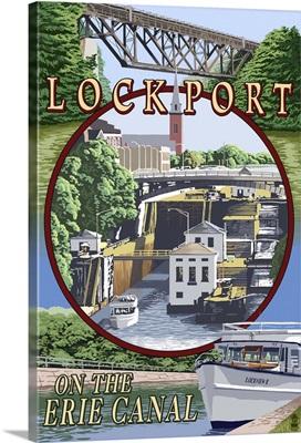Lockport, New York - Montage: Retro Travel Poster