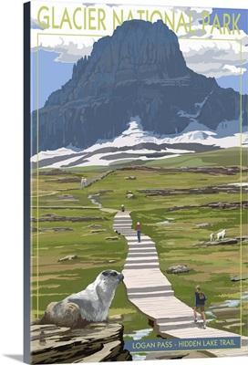 Logan Pass - Glacier National Park, Montana: Retro Travel Poster