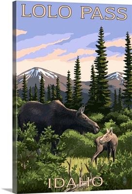 Lolo Pass, Idaho - Moose and Calf: Retro Travel Poster