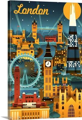 London, England, Retro Skyline