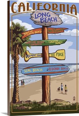 Long Beach, California - Destination Sign: Retro Travel Poster