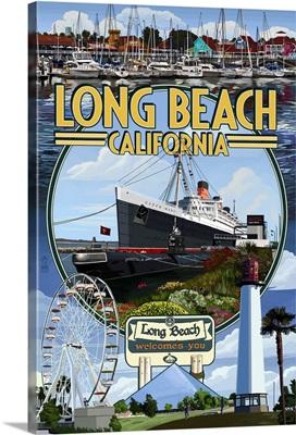 Long Beach, California - Montage 2: Retro Travel Poster