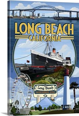 Long Beach, California - Montage 3: Retro Travel Poster