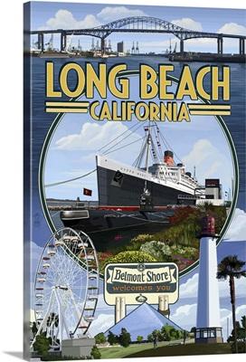 Long Beach, California - Montage: Retro Travel Poster