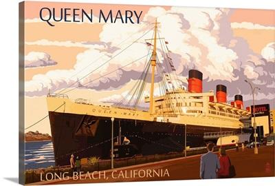 Long Beach, California - Queen Mary: Retro Travel Poster