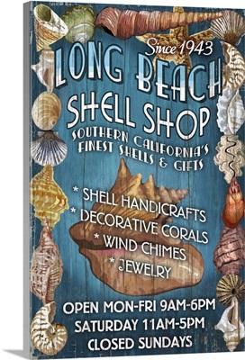 Long Beach, California - Shell Shop Vintage Sign: Retro Travel Poster