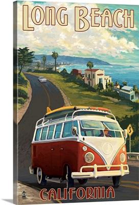Long Beach, California - VW Van Cruise: Retro Travel Poster