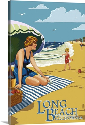 Long Beach, California - Woman on the Beach: Retro Travel Poster
