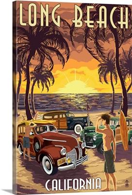Long Beach, California - Woodies and Sunset: Retro Travel Poster