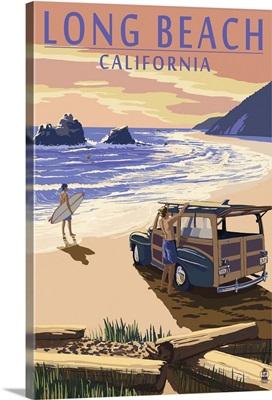 Long Beach, California - Woody on Beach: Retro Travel Poster