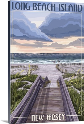Long Beach Island, New Jersey - Beach Boardwalk Scene: Retro Travel Poster