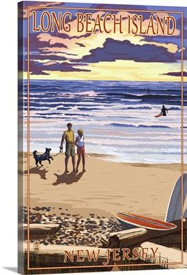 Long Beach Island, New Jersey - Beach Walk and Surfers: Retro Travel Poster