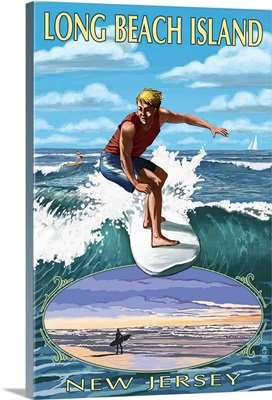 Long Beach Island, New Jersey, Day Surfer with Inset