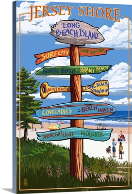 Long Beach Island, New Jersey Destination Sign: Retro Travel Poster