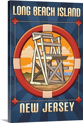 Long Beach Island, New Jersey - Lifeguard Chair: Retro Travel Poster
