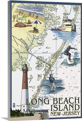 Long Beach Island, New Jersey - Nautical Chart: Retro Travel Poster