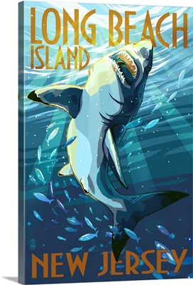 Long Beach Island, New Jersey - Stylized Shark: Retro Travel Poster
