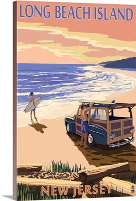Long Beach Island, New Jersey - Woody on Beach: Retro Travel Poster
