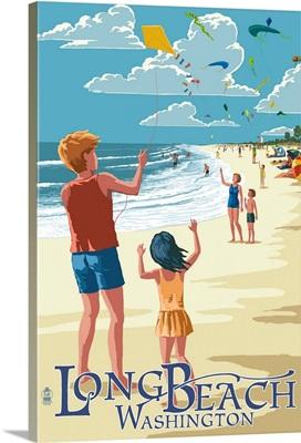 Long Beach, Washington - Kite Flyers: Retro Travel Poster